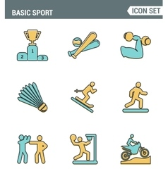 Icons line set premium quality of basic sport and vector image