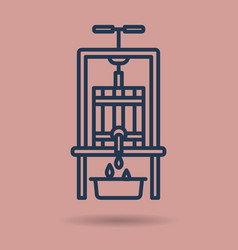 isolated linear icon - wine press vector image vector image