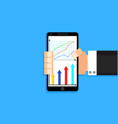 man hold smart phone with chart and graphic vector image