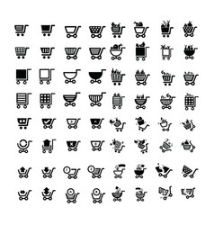 shopping cart icons design 64 item vector image