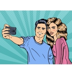 Young Loving Couple Making Selfie vector image