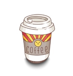 Cute hand-drawn cartoon style coffee cup with vector image vector image