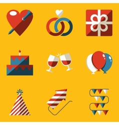 Flat icon set Holiday Love vector image vector image
