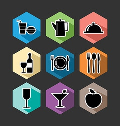 Food flat icons set vector image vector image