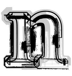 Grunge font letter n vector