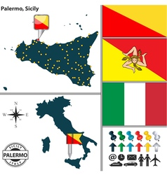 Map of Palermo in Sicily vector image