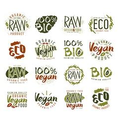 Raw vegan labels badges and design elements vector image