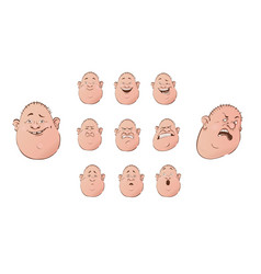 set of male emoji characters flat cartoon style vector image