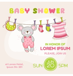 Baby Mouse Shower Card - with place for your text vector image