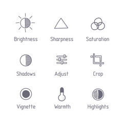 picture editing icon set hand drawn art vector image