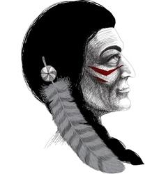 Portrait of an Indian warrior vector image vector image