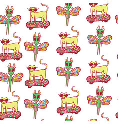 seamless pattern with doodle cartoon cat on vector image