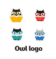 set owl logo owl icon set flat vector image vector image