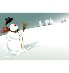 Winter background with snowman vector image vector image