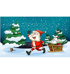 a smiling santa pulling wooden sleigh near the vector image