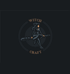 a woman witch flies on broomstick vector image