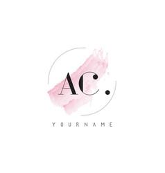 Ac watercolor letter logo design with circular vector