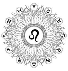 Adult coloring book mandala zodiac symbol leo vector