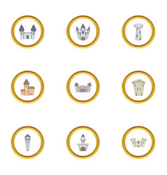 ancient castle icons set cartoon style vector image