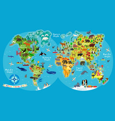 animal map world for children and kids vector image