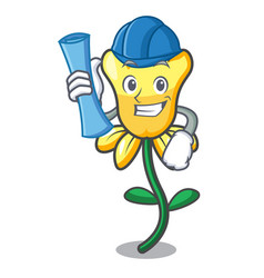 architect daffodil flower character cartoon vector image