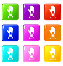 baseball glove award icons 9 set vector image