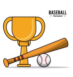 baseball sport trophy ball bat design image vector image