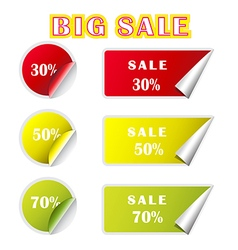 big sale text and percent tags vector image