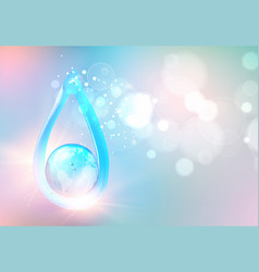 blue liquid gel in form water drop with earth vector image