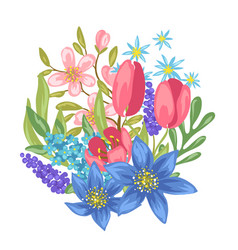 Bouquet with spring flowers vector