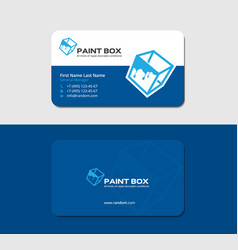 Business card with cube and dripping paint vector