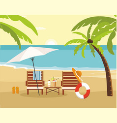 chaise lounge and umbrella on beach summer vector image