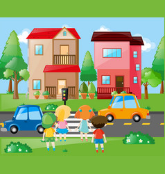 Children crossing road in neighborhood vector