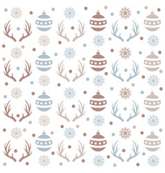 christmas seamless pattern with balls reindeer vector image