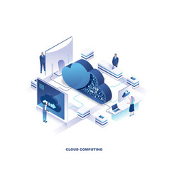 cloud computing service isometric landing page vector image
