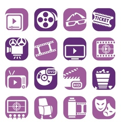 color cinema icons setjpg vector image