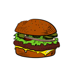 color sketch cheeseburger vector image