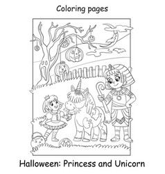 Coloring page kids in costume princess vector