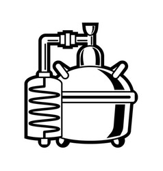 cooper alcohol distillation unit alembic vector image