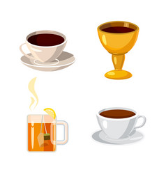 cup icon set cartoon style vector image
