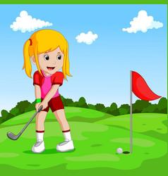 Cute little girl playing golf vector