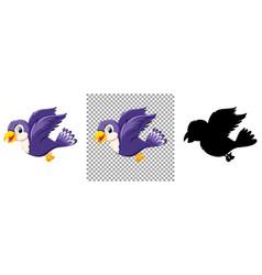 Cute purple bird cartoon character vector