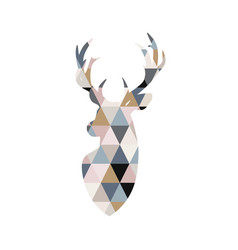 deer in patchwork style scandinavian poster vector image