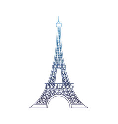 degraded line eiffel tower beauty architecture in vector image