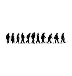 elderly seniors walking crowd silhouette vector image