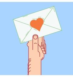 Envelope in hand valentines vector