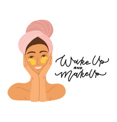 Face a beautiful girl with a towel on her vector
