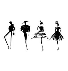 Fashion models sketch hand silhouette pop art vector