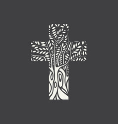 flat design christian cross in form tree vector image