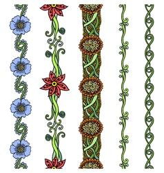 floral borders set vector image